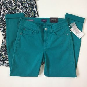 NYDJ Teal Ankle Jeans, Size 0